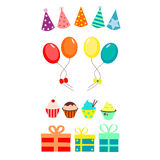 Party set with balloons and cupcakes Royalty Free Stock Image