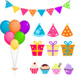 Party set with balloons, presents and cupcakes royalty free stock photos