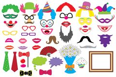Party set. Clowns. Glasses, hats, lips, wigs, mustaches, tie. Party set. Clowns. Glasses hats lips wigs mustaches tie and etc., icons. Vector. Photo booth props Stock Image