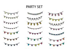 Party set with different garlands. And flags vector illustration