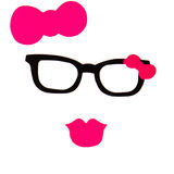 Party set - Glasses, hats, lips, mustaches, masks - for design, Royalty Free Stock Image