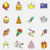 Party set icons. In hand drawn style on transparent background Stock Photo