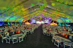 Party Set for Large Group. A large group of 800 people party room table set inside a tent Stock Photography