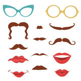 Party set with mustaches, lips, eyeglasses Royalty Free Stock Image