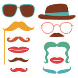 Party set with mustaches, lips, eyeglasses Royalty Free Stock Photography