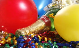 Party Setting. Bright and colorful party scene with champagne Stock Image