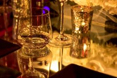 Party Setting with Colorful Bokeh Background royalty free stock image