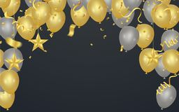Party shiny banners with air balloons and serpentine. Vector ill. Ustration Stock Image