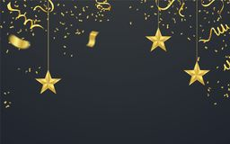 Party shiny banners with air balloons and serpentine. Vector ill. Ustration Stock Photography