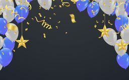 Party shiny banners with air balloons and serpentine. Vector ill. Ustration Royalty Free Stock Photography