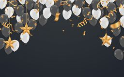 Party shiny banners with air balloons and serpentine. Vector ill. Ustration Stock Photos