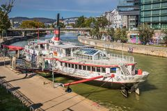 """Party ship in Vienna, Austria. Destroyed Party Ship """"MS Johann Strauss"""" on the Danube Canal in Vienna Royalty Free Stock Photos"""