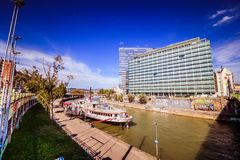"""Party ship in Vienna, Austria. Destroyed Party Ship """"MS Johann Strauss"""" on the Danube Canal in Vienna Stock Photos"""