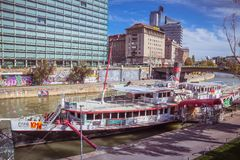 """Party ship in Vienna, Austria. Destroyed Party Ship """"MS Johann Strauss"""" on the Danube Canal in Vienna Stock Image"""