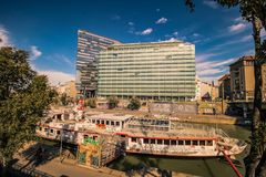 """Party ship in Vienna, Austria. Destroyed Party Ship """"MS Johann Strauss"""" on the Danube Canal in Vienna Stock Photo"""