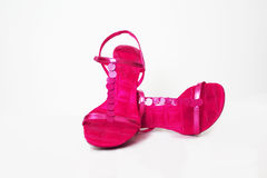 Party Shoes. Hot Pink Strappy Sandals with paillette detail Royalty Free Stock Photography