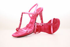 Party Shoes. Hot Pink Strappy Sandals with paillette detail Royalty Free Stock Image