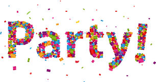 Party sign with colorful confetti Royalty Free Stock Image