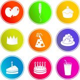 Party sign icons. Collection of party sign icons isolated on white Royalty Free Stock Photo