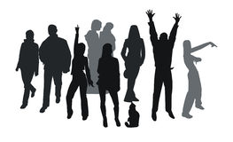 Party silhouettes. Silhouettes of young people isolated on white. Good use for party tickets, cards and posters Royalty Free Stock Photography