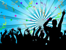 Party Silhouettes Shows Disco Dancing And Celebration Royalty Free Stock Photos