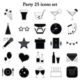 Party 25 simple icons set. Party and holidays 25 simple icons set Royalty Free Stock Photo