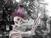 Party skeleton. Dancing in the cemetery Royalty Free Stock Images