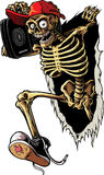 Party Skeleton. Skeleton ripping the wall and getting inside Stock Photo