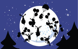 Party in the sky. Vector illustration of santa`s party in the sky Royalty Free Stock Photos