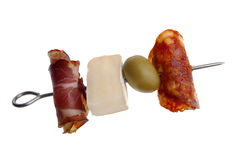 Party snack. Salami and smoked meat with cheese and olive Royalty Free Stock Photography