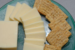Party snack plate of cheese and crackers Stock Photos
