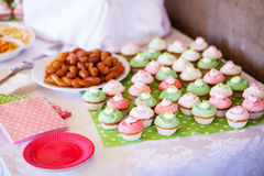 Party snacks and homemade cupcakes Royalty Free Stock Image