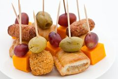 Party Snacks. Mini Sausage Rolls And Cheese Royalty Free Stock Photography