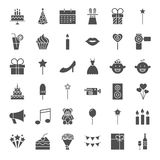 Party Solid Web Icons. Vector Set of Birthday Celebration Glyphs Royalty Free Stock Photos