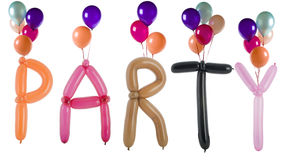 Party spelled out with balloons isolated on white stock image