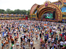 Party stage. View of the Pyramid Marquee stage of the Tomorrowland festival in the town of Boom, Belgium (Friday, 25th of July 2014 Royalty Free Stock Images