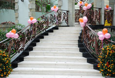 Party stairs. Stairs for a party with colourful balloon royalty free stock image
