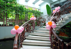 Party stairs. Stairs for a party with colourful balloon Stock Photos