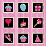 Party stamps. Blue, pink and black party decoration stamps Stock Images