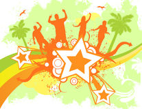 Party star banner. In tropical colors stock illustration