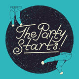 The Party Starts! Typographic Party poster design with dancing trousers. Retro vector illustration. Royalty Free Stock Photo