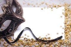 Party stilleben med blankt papper för din text Royaltyfri Bild
