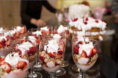 Party with Strawberry Parfaits and Cake Stock Images