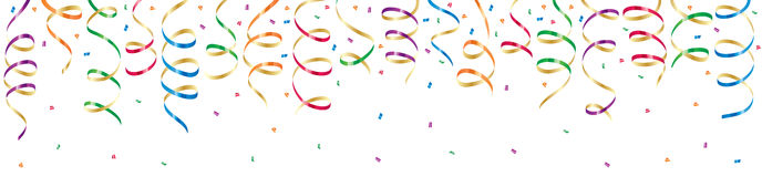 Party streamers. Background with party streamers and confetti, illustration Stock Photo