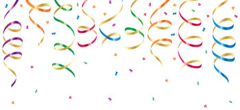 Party streamers and confetti. Background with party streamers and confetti, illustration Stock Images