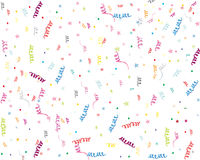 Party streamers and confetti. Colorful party streamers and confetti,  on white background Royalty Free Stock Images