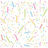 Party streamers and confetti background.