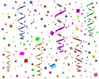 Party streamers and confetti 3d illustration. Isolated on white background Stock Photo