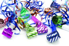 Party streamers over white Royalty Free Stock Image