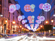 Party street lights. In burgos, Spain royalty free stock images